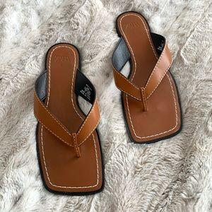 Zara Square Toe Top Stitch Thong Sandals Flip Flop